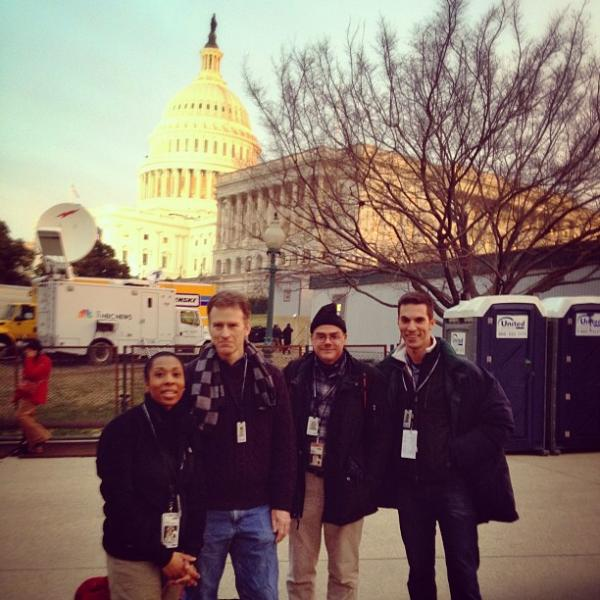 The NPR team arrived to work bright and early Monday morning. Pictured (l to r) is <em>All Things Considered</em> Host Audie Cornish, <em>Morning Edition</em> Host Steve Inskeep, and White House Correspondents Scott Horsley and Ari Shapiro standing in front of the U.S. Capitol.
