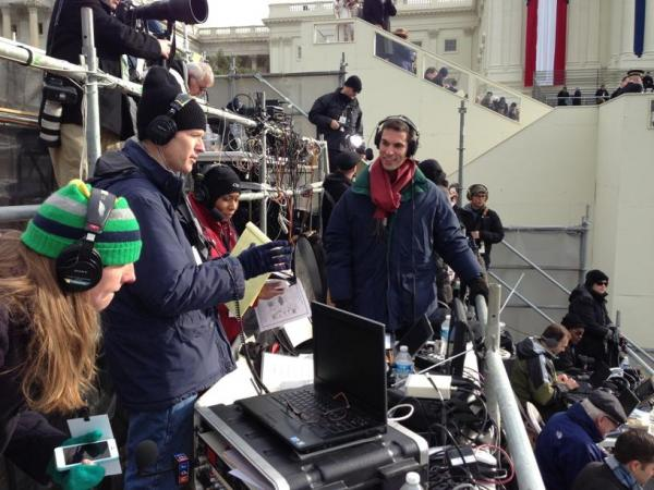 The NPR crew seated and ready to start live, on-air coverage of the inaugural ceremony. Pictured (l to r) Director Sarah Handel, <em>Morning Edition</em> Host Steve Inskeep, <em>All Things Considered</em> Host Audie Cornish and White House Correspondent Ari Shapiro.