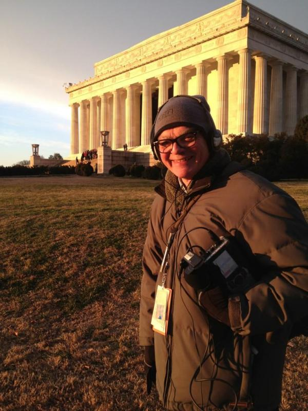 Down on the opposite end of the National Mall from the U.S. Capitol, Production Assistant Liz Baker tweeted this photo of National Political Correspondent Don Gonyea standing in front of a golden-hued Lincoln Memorial.