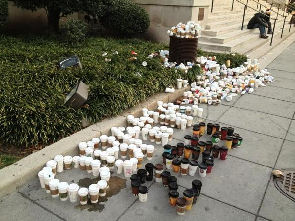 "From the looks of Production Assistant Liz Baker's ""trash art"" photo, it appears the unofficial Inauguration Day drink of choice was caffeinated."