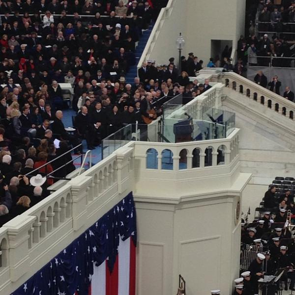 """Director Sarah Handel shared a photo of her podium view during James Taylor's performance of """"America the Beautiful."""""""
