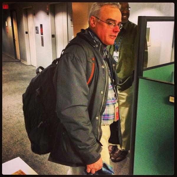 "After a long day's work, NPR National Desk Reporter Sonari Glinton posted a photo on Instagram of White House Correspondent Scott Horsley lugging his ""100lbs"" backpack from the field."