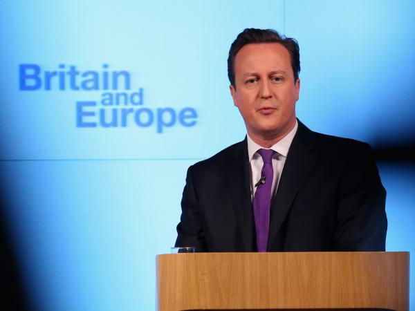 British Prime Minister David Cameron earlier today in London as he spoke about a vote on E.U. membership.
