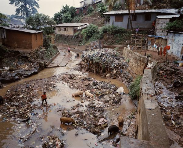 The Borborcombough Water Site in the Kroo Bay slum, one of two that service a population of 5,500 people. The Western Area — where Freetown is located — accounted for half of all cholera cases during the outbreak.