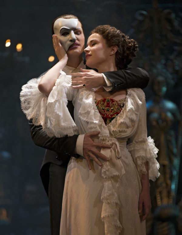 Hugh Panaro is The Phantom and Sierra Boggess is Christine in the 25th anniversary cast of <em>The Phantom of the Opera</em> on Broadway.