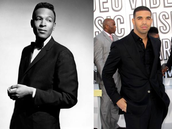 Marvin Gaye (at left), pictured here circa 1964, at the age of 25. At right, the 24-year-old rapper Drake. Gaye died in 1984, two years before Drake was born.