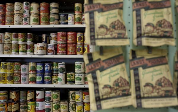 Old grocery goods line the shelves at History for Hire. Some of the labels are originals; others have been reconstructed by History for Hire's graphics department. The prop house has a huge archive of thousands of labels from different packages and cartons.
