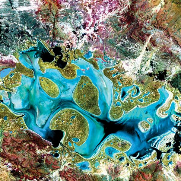 <p><strong>Carnegie Lake</strong><strong>, Australia</strong><strong>, 1999</strong></p><p>Carnegie Lake in Western Australia fills with water only during periods of significant rainfall. In dry years, it is reduced to a muddy marsh. Flooded areas appear dark blue or black, vegetation appears in shades of dark and light green, and sands, soils and minerals appear in a variety of colors.</p>