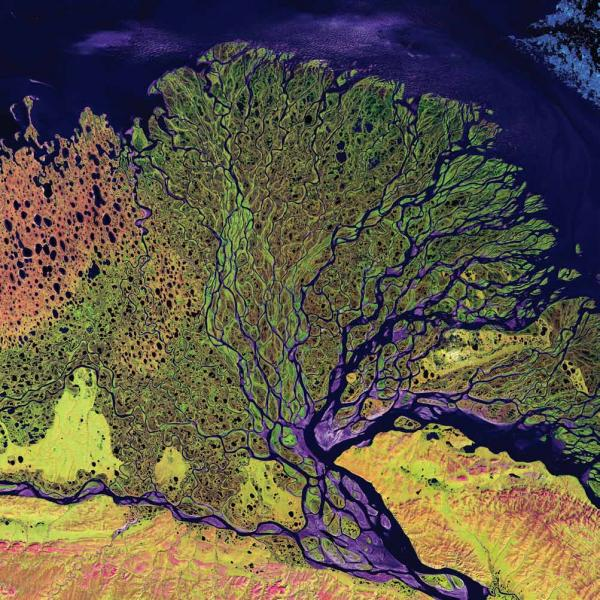 <p><strong>Lena River Delta, Russia, 2000</strong></p><p>The Delta extends 62 miles into the Laptev Sea and Arctic Ocean, and includes a protected wilderness area and wildlife refuge. The delta is frozen tundra for about seven months of the year, and spring transforms it into a lush wetland. Vegetation appears as shades of green, sandy areas as shades of red, and water as purples and blues.</p>