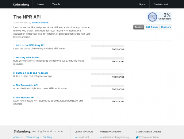 Screenshot of the NPR API Course available at Codecademy.