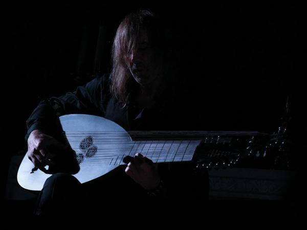 Jozef Van Wissem with his one-of-a-kind black lute.