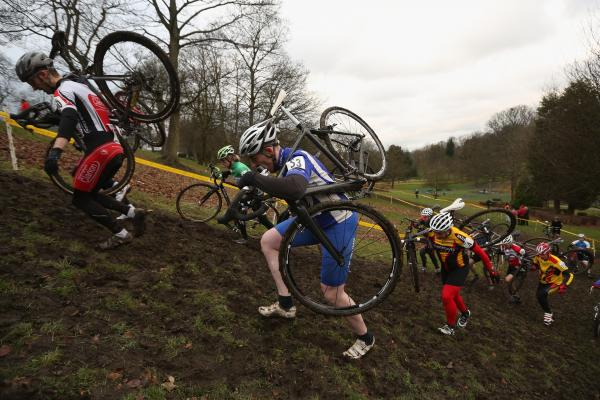 Competitors in a men's category race in the 2013 National Cyclo-cross Championships in Bradford, England, this month. The sport requires riders to traverse mud and sand on off-road courses peppered with obstacles.