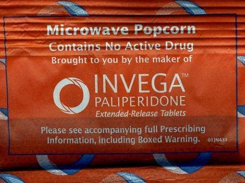 A package of microwave popcorn promoting Johnson & Johnson's antipsychotic drug Invega back in 2008 would have been a no-no at many medical schools.
