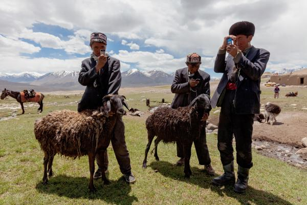 Kyrgyz herders adore their cellphones, which they acquire by trading and keep charged with solar-powered car batteries. Though useless for communication — cellular service doesn't reach the isolated plateau — the gadgets are used to play music and take photos.
