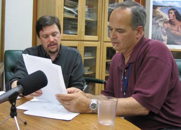 "Alfred ""Bud"" Lane, among the last speakers of the Siletz language, works with linguist Greg Anderson to record words for a talking dictionary. Photo by K. David Harrison"
