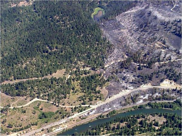 Aerial view of Taylor Bridge fire origin. Photo by John Himmel, WSDOT