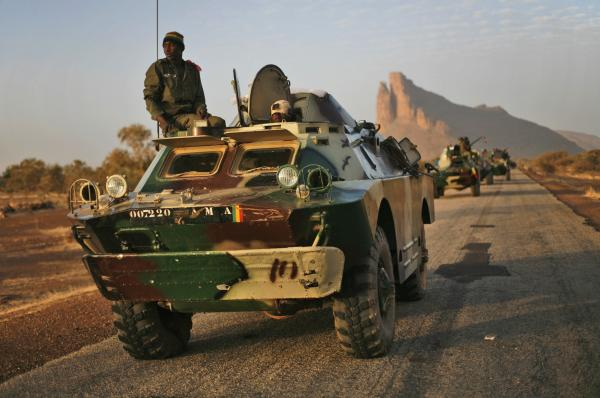 Malian troops near Hambori, northern Mali are driving toward Gao on Monday, Feb. 4, 2013.