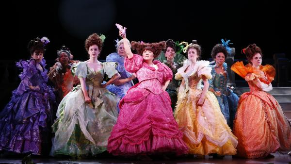 Actress Ann Harada (in pink) returns to the stage in the Broadway premiere of <em>Rodgers & Hammerstein's Cinderella, </em>an update of the made-for-TV movie from 1957. Her other theater work has included <em>Avenue Q</em> and <em>Les Miserables.</em>