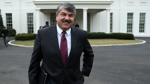 AFL-CIO President Richard Trumka leaves the White House on Tuesday after meeting with President Obama to discuss immigration policy and other issues.