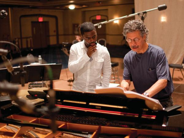 Chick Corea discusses a passage with Marcus Gilmore during the recording sessions for the two-disc set <em>The Continents</em>. Corea recently recorded another album featuring Gilmore.