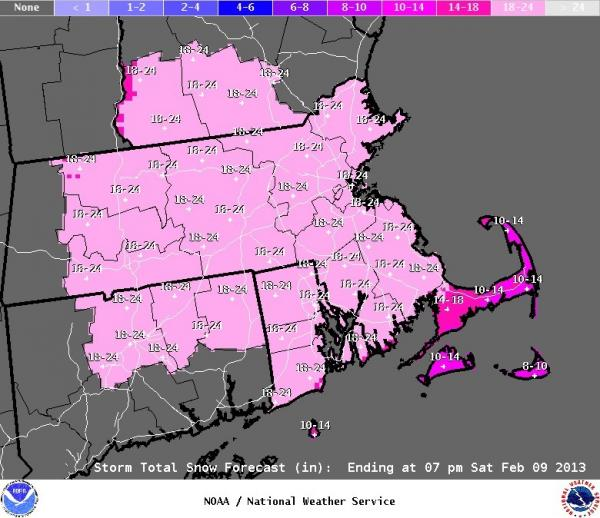 The National Weather Service's latest forecast of the snow totals across New England. Most places can expect 18-24 inches of new snow. It will start falling Friday and the storm is expected to last through Saturday.