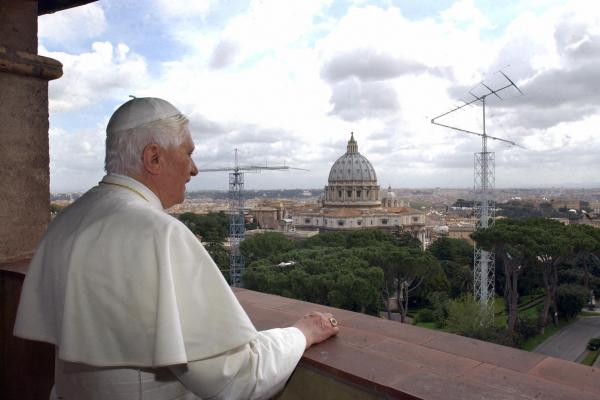 Newly elected Pope Benedict XVI visits his former apartment in Rome on April 20, 2005.