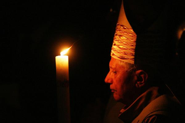 The pontiff attends the Easter Vigil in the Basilica of St. Peter in 2007, in Vatican City.