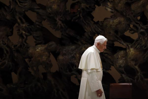 Pope Benedict XVI arrives to lead his Wednesday audience at the Vatican on Nov. 21, 2012.