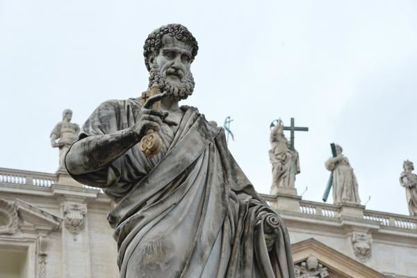 A Statue of St Peter outside St. Peter's basilica at the Vatican.