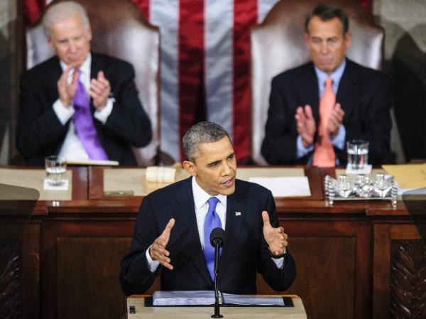 President Obama during Tuesday night's State of the Union address. Behind him: Vice President Biden (left) and House Speaker John Boehner, R-Ohio.