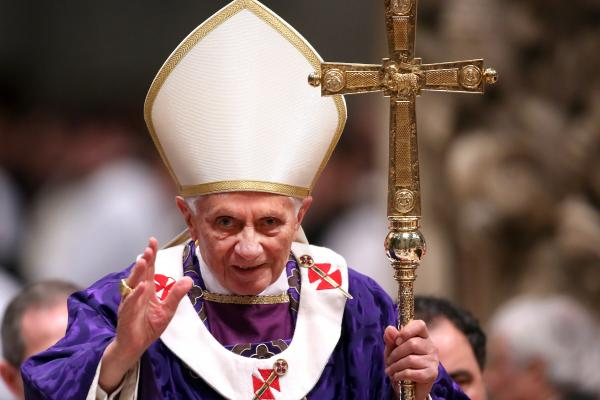 Pope Benedict XVI leads the Ash Wednesday service at St. Peter's Basilica on Wednesday.