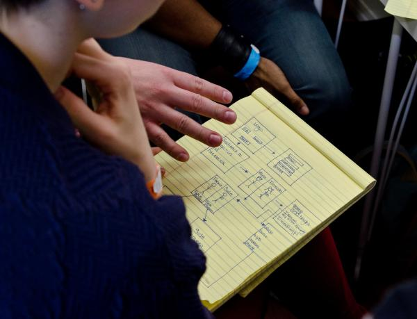 Participants in The Fashion Hackathon sketch out plans for an app. Fashion industry giants are beginning to look to tech-savvy new startups for inspiration.