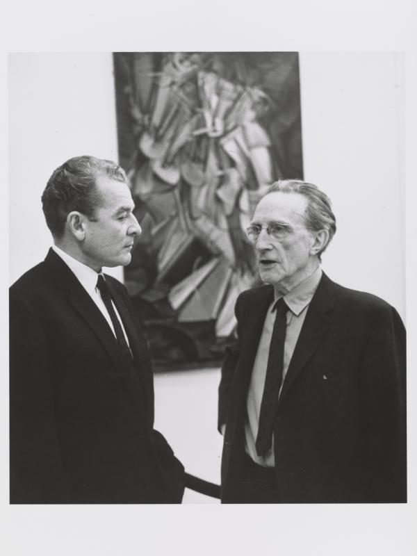 Marcel Duchamp, shown here with art historian Henri Marceau at the Armory Show 50th Anniversary Exhibition in 1963, painted the revolutionary <em>Nude Descending a Staircase</em> when he was just 26 years old.