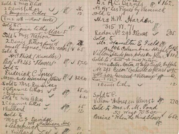 A notebook recording sales at the New York Armory Show shows that Marcel Duchamp's <em>Nude Descending a Staircase</em> sold for $324.