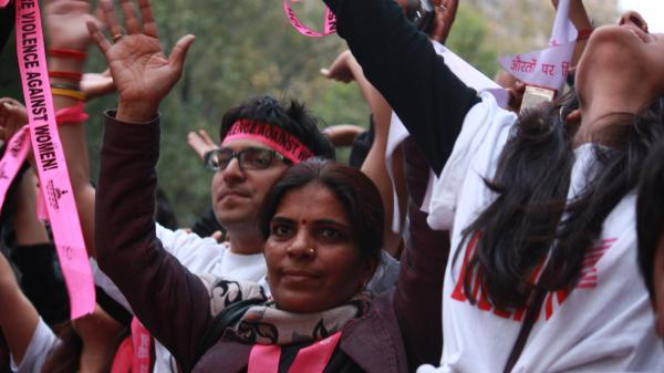 In rallies around the globe, demonstrators on Valentine's Day called for an end to violence against women. A large, animated crowed gathered in New Delhi for the One Billion Rising rally.