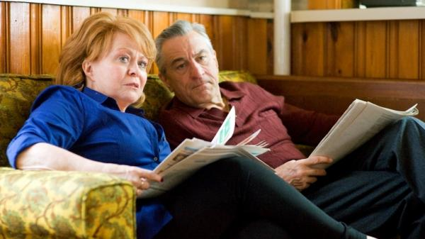 Jackie Weaver, pictured here with costar Robert De Niro, plays the rock-solid matriarch of a troubled clan in <em>Silver Linings Playbook</em>.
