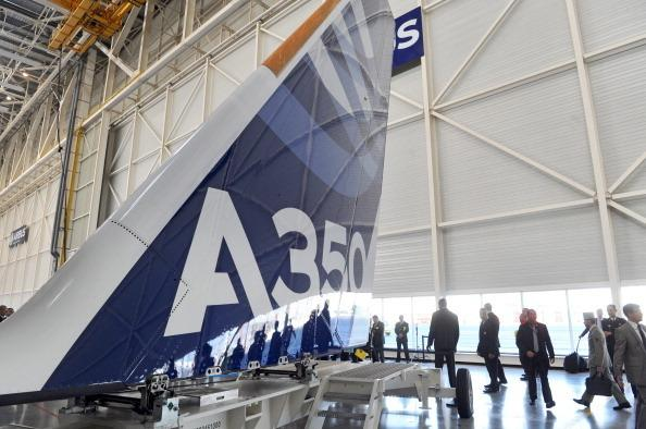 A tail of an Airbus long-haul  A350 XWB under construction at the European aircraft maker's assembly line in France.
