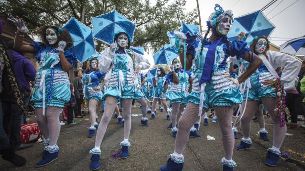 The Baby Doll Ladies pose during Mardi Gras in New Orleans on Tuesday.