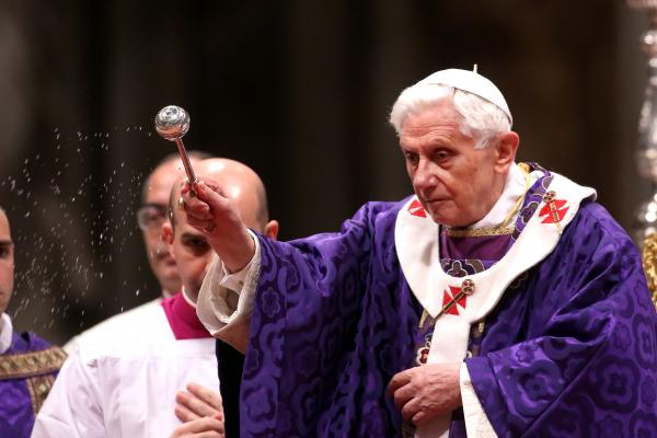 Pope Benedict XVI leads the Ash Wednesday service at the St. Peter's Basilica on Feb. 13.