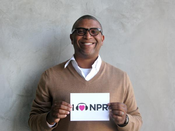 Producer Reginald Hudlin's film <em>Django Unchained</em> is up for five awards including Best Picture. While we didn't have a gold statuette for him, Hudlin was happy to show NPR some love with something a little less shiny. (http://n.pr/12Ht1lf)