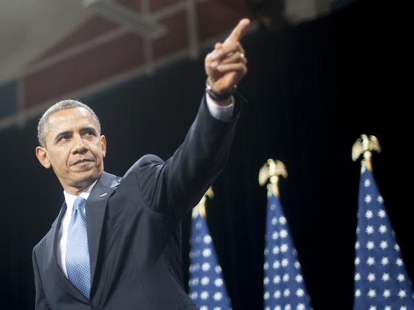 President Barack Obama points to the crowd after delivering remarks on immigration in Las Vegas in January.