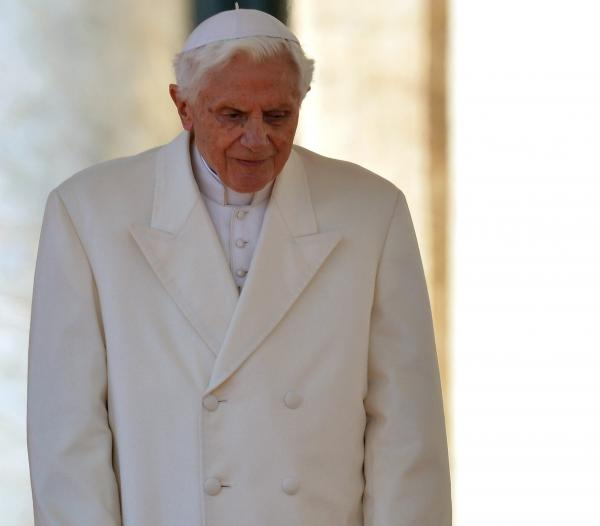 Pope Benedict XVI as he arrived on the altar in St. Peter's Square Wednesday for his last general audience.