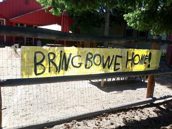 Children at the Little River Preschool in Hailey, Idaho, made a banner for Bowe Bergdahl this spring. Photo by Jessica Robinson