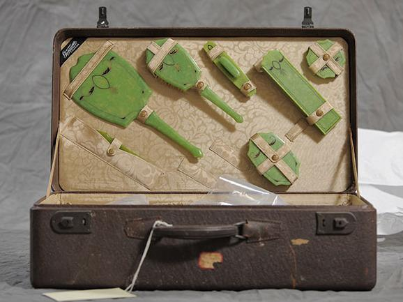 Freda Bowker suitcase, part of the New York State Museum collection of suitcases from the Willard Asylum