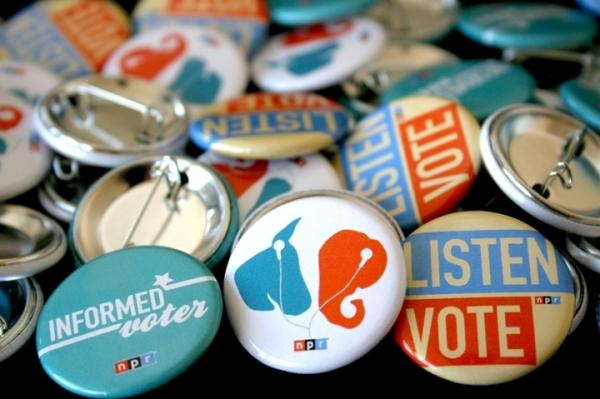 2012 NPR Election Buttons, available at NPR Member Stations (while supplies last).