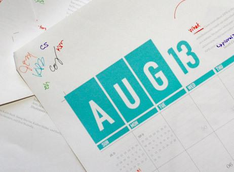 The 2013 NPR Wall Calendar, during the editing process.