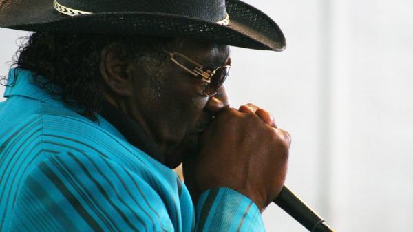 Mississippi-born harmonica player Big George Brock performs at the Philadelphia Folk Festival.