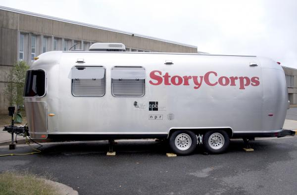 The StoryCorps' Airstream trailer, parked in Arlington, Va., travels to cities across the country. Inside is a recording studio where participants record their interview sessions.