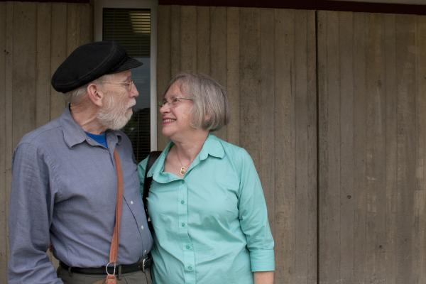 Nicholas and Mary Ann Penning wait together outside the trailer before their StoryCorps interview session. Nicolas and Mary Ann grew up on different sides of the same town – Springfield, Ill. – before they married years later. Nicholas worked as a reporter in Chicago before he and Mary Ann moved to Arlington, Va., where they live now.