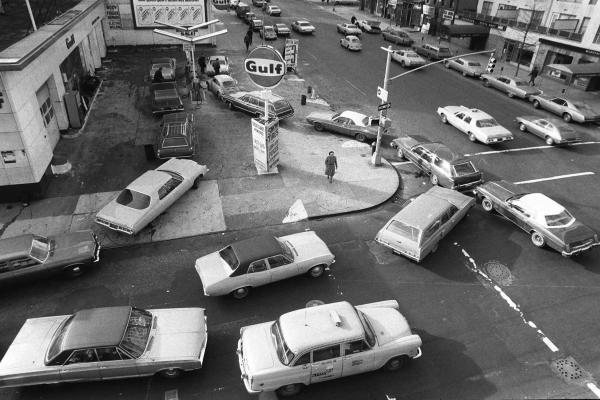 Cars line up in two directions at a gas station in New York City on Dec. 23, 1973.
